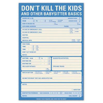 Click to get Dont Kill the Kids Babysitter Checklist