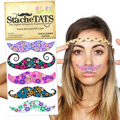 Click to get Stache Tats Flower Patch Temporary Mustache Tattoos